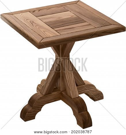 Wooden brown antique table isolated on white background. Handmade table, furniture