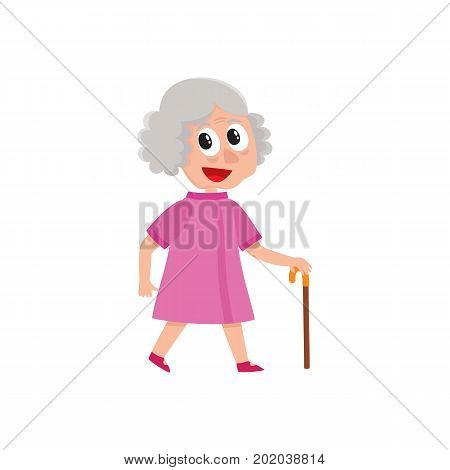 vector adult grey-haired woman walks happily keeping cane in hand. Flat cartoon isolated illustration on a white background