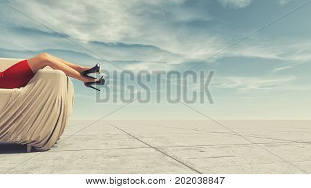 Young woman in red dress relaxes in a sofa. This is a 3d render illustration