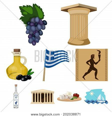 Greece set icons in cartoon design. Big collection of Greece vector symbol stock illustration