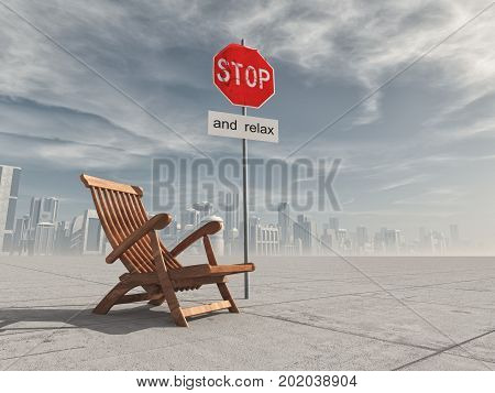 Wooden chair and a stop sign in the background a city. The concept of relaxation. This is a 3d render illustration