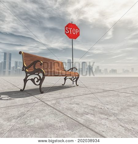 Wooden bench and a stop sign in the background a city. The concept of relaxation. This is a 3d render illustration
