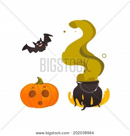 Halloween objects - pumpkin lantern, flying bat and witch cauldron on fire, cartoon vector illustration isolated on white background. Cartoon witch caldron pot, Halloween pumpkin, flying bat