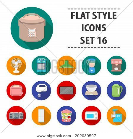 Household appliances set icons in flat style. Big collection household appliances vector symbol stock