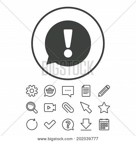 Exclamation mark sign icon. Attention speech bubble symbol. Document, Chat and Paper clip line signs. Question, Pencil and Calendar line icons. Star, Download and Shopping cart. Vector