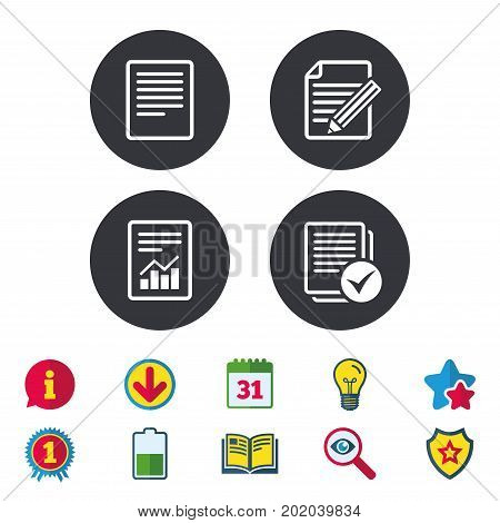 File document icons. Document with chart or graph symbol. Edit content with pencil sign. Select file with checkbox. Calendar, Information and Download signs. Stars, Award and Book icons. Vector