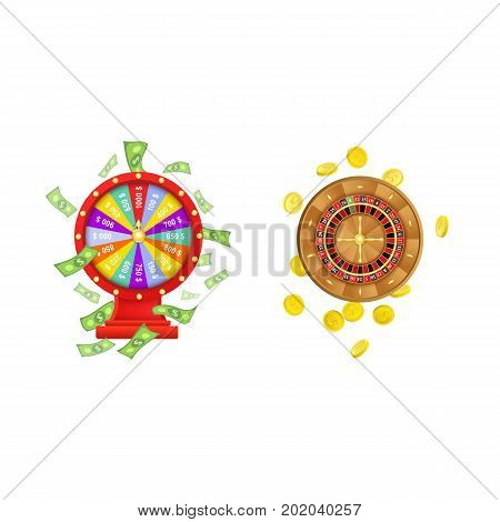 vector flat cartoon gambling lucky wheel of fortune with dollar rain around, casino roulette wheel with golden coins set. Isolated illustration on a white background. Sign of profit, easy money.