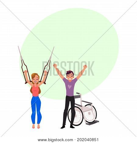 Farewell to crutches and wheelchair, medical rehabilitation, recovery, cartoon vector illustration with bubble speech. Rehabilitation, recovery from trauma, no more need for crutches, wheelchair