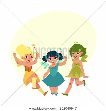 Set of fairy girls in colorful dresses with wings and wands, cartoon vector illustration with bubble speech. Happy, smiling fairy girls flying and standing in colorful dresses, holding wands