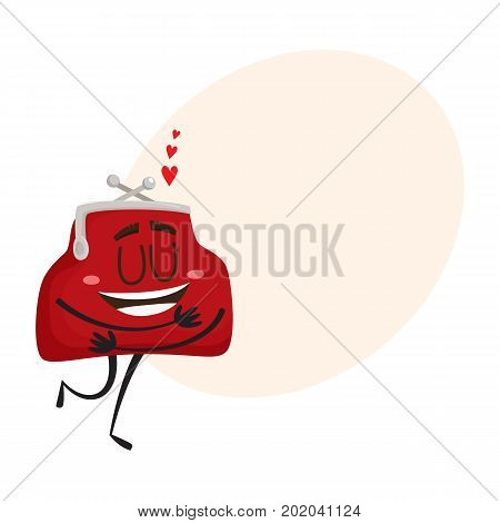 Vector money wallet in love character flat illustration isolated on a white background. Expressive happy wallet in love, hugging itself smiling with speech bubble