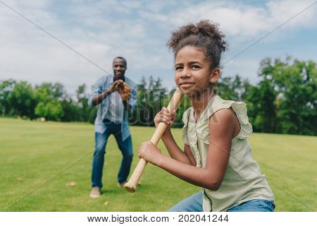 African American Family Playing Baseball