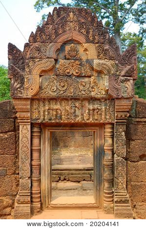 A ruined gate in the one of ruined budhist temple in Angkor,Cambodia