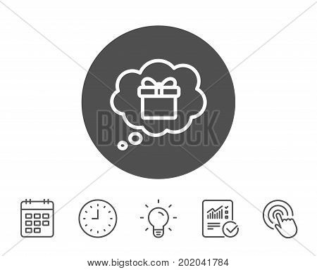 Dreaming of Gift line icon. Present box in Comic speech bubble sign. Birthday Shopping symbol. Package in Gift Wrap. Report, Clock and Calendar line signs. Light bulb and Click icons. Editable stroke