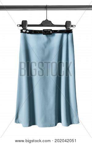 Elegant basic blue midi skirt on clothes rack isolated over white