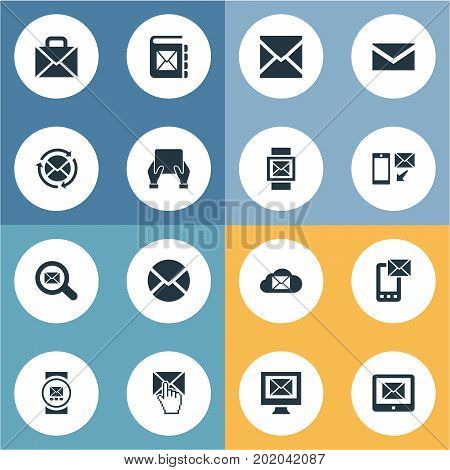 Elements Seek, Portfolio, Smartphone And Other Synonyms Mail, Envelope And Watch.  Vector Illustration Set Of Simple Communication Icons.