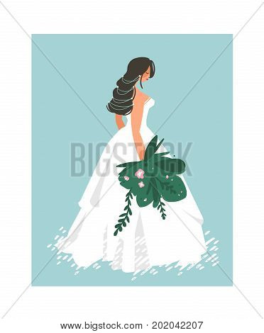 Hand drawn vector abstract wedding bridal in white dress illustration isolated on blue background.