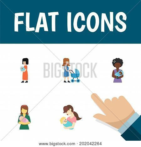 Flat Icon Mother Set Of Perambulator, Woman, Baby And Other Vector Objects