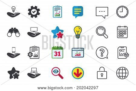 Helping hands icons. Intellectual property insurance symbol. Smartphone, TV monitor and pc notebook sign. Device protection. Chat, Report and Calendar signs. Stars, Statistics and Download icons