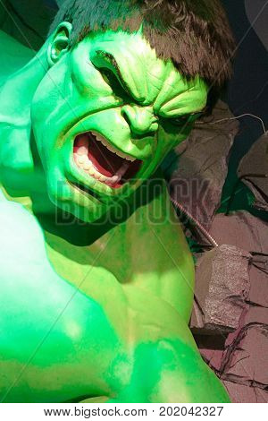 LAS VEGAS, NEVADA US - Oct 29, 2014: Hulk giant model , Madame Tussauds museum in Las Vegas.