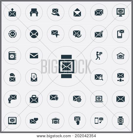 Elements Sent, Correspondence, Renewed And Other Synonyms Flow, Web And Correspondence.  Vector Illustration Set Of Simple Communication Icons.