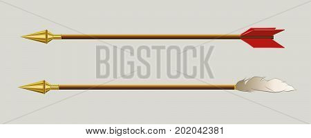 image of arrows with bird feather and golden tip