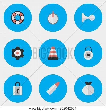 Elements Safe, Cogwheel, Lifesaver And Other Synonyms Lifebuoy, Deer And Lifesaver.  Vector Illustration Set Of Simple Crime Icons.