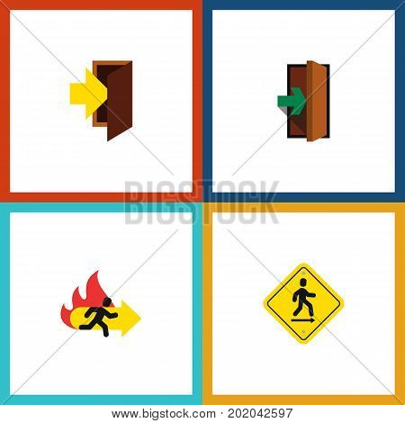 Flat Icon Emergency Set Of Entry, Fire Exit, Direction Pointer And Other Vector Objects