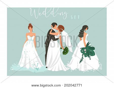 Hand drawn vector abstract cartoon wedding hugging, kissing couple and bridal girls illustrations collection elements set isolated on blue background.