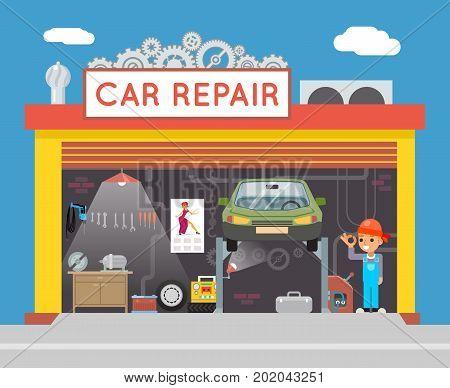 Auto Repair Service Garage Shop Technician Fix Vehicle Flat Design Workshop Concept Template Vector Illustration