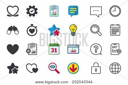 Heart ribbon icon. Timer stopwatch symbol. Love and Heartbeat palpitation signs. Chat, Report and Calendar signs. Stars, Statistics and Download icons. Question, Clock and Globe. Vector