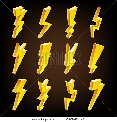 3D Lightning Icons Vector Set. Cartoon Yellow Lightning Isolated Illustration. Danger, Energy Icon. Lightning Bolt.