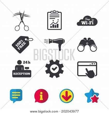 Hotel services icons. Wi-fi, Hairdryer in room signs. Wireless Network. Hairdresser or barbershop symbol. Reception registration table. Browser window, Report and Service signs. Vector
