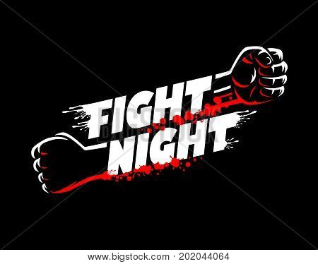 Fight night mma wrestling fist boxing championship for the belt event poster logo template with lettering