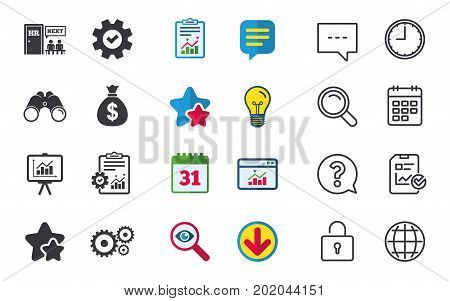 Human resources icons. Presentation board with charts signs. Money bag and gear symbols. Man at the door. Chat, Report and Calendar signs. Stars, Statistics and Download icons. Vector