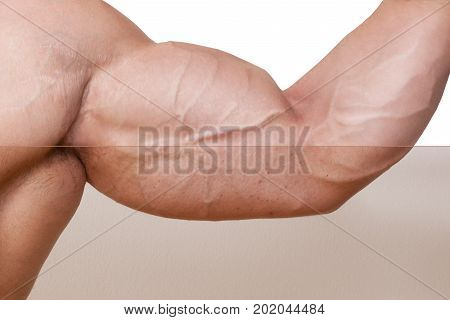 Professional Skin retouched biceps on bodybuilder hand. Before and after retouching.