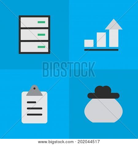 Elements Growing, Drawer, Clipboard And Other Synonyms Drawer, Growing And Increase.  Vector Illustration Set Of Simple Job Icons.