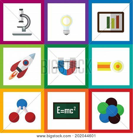 Flat Icon Knowledge Set Of Lightbulb, Proton, Attractive Force And Other Vector Objects