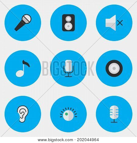 Elements Listen, Volume, Mike And Other Synonyms Amplifier, Regulator And Microphone.  Vector Illustration Set Of Simple Melody Icons.