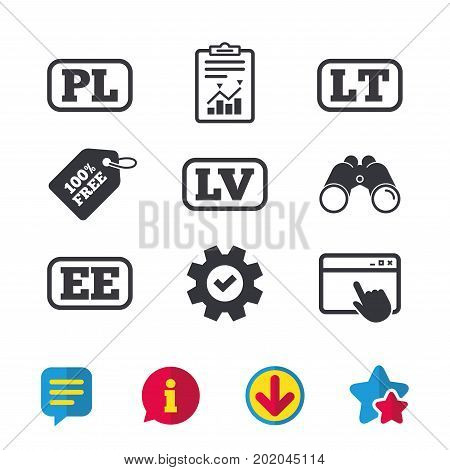 Language icons. PL, LV, LT and EE translation symbols. Poland, Latvia, Lithuania and Estonia languages. Browser window, Report and Service signs. Binoculars, Information and Download icons. Vector