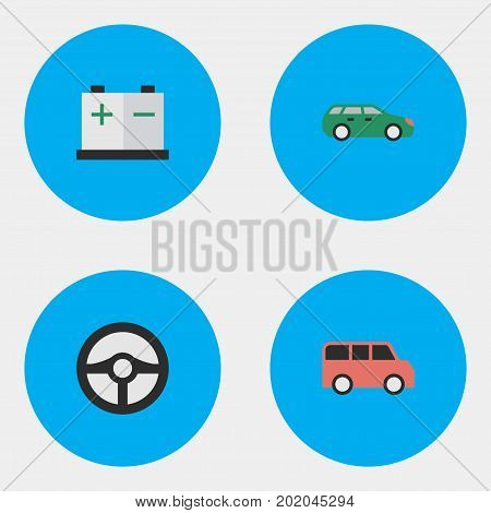 Elements Family, Steering, Sedan And Other Synonyms Accumulator, Charge And Wheel.  Vector Illustration Set Of Simple Traffic Icons.