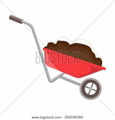 Wheelbarrow, single icon in cartoon style.Wheelbarrow vector symbol stock illustration .