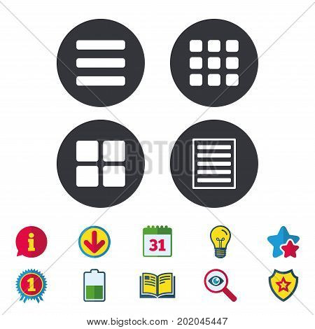 List menu icons. Content view options symbols. Thumbnails grid or Gallery view. Calendar, Information and Download signs. Stars, Award and Book icons. Light bulb, Shield and Search. Vector