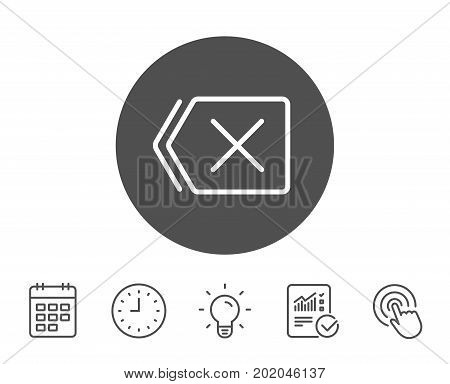 Delete line icon. Remove sign. Cancel or Close symbol. Report, Clock and Calendar line signs. Light bulb and Click icons. Editable stroke. Vector