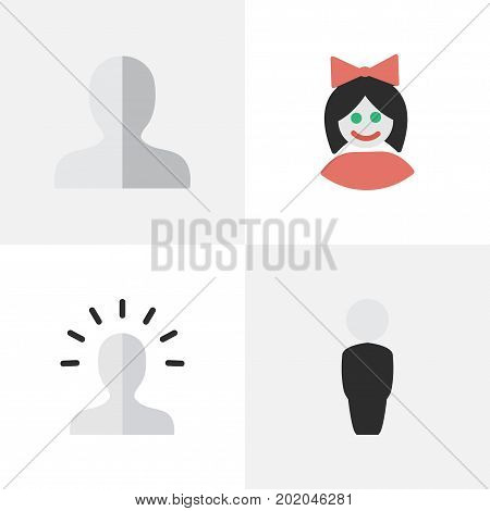 Elements Contour, Profile, Girl And Other Synonyms Contour, Shape And Person.  Vector Illustration Set Of Simple Profile Icons.