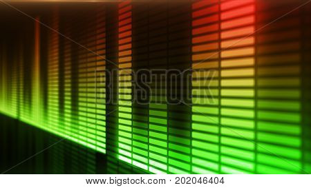 Eq, Equalizer Scale With Reflection And Chart, 3D On Dark Background