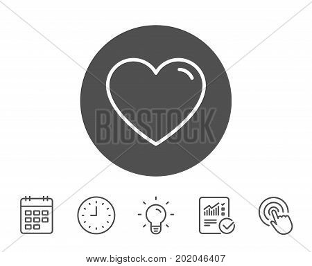 Heart line icon. Love sign. Valentines Day sign symbol. Report, Clock and Calendar line signs. Light bulb and Click icons. Editable stroke. Vector