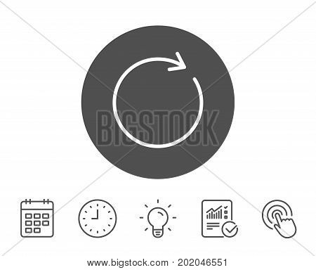 Refresh line icon. Rotation arrow sign. Reset or Reload symbol. Report, Clock and Calendar line signs. Light bulb and Click icons. Editable stroke. Vector