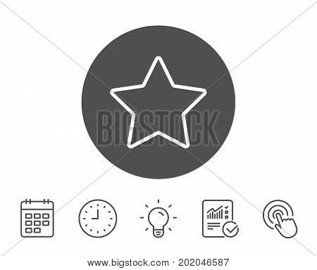 Star line icon. Best rank sign. Bookmark or Favorite symbol. Report, Clock and Calendar line signs. Light bulb and Click icons. Editable stroke. Vector