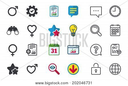 Male and female sex icons. Man and Woman signs with hearts symbols. Chat, Report and Calendar signs. Stars, Statistics and Download icons. Question, Clock and Globe. Vector