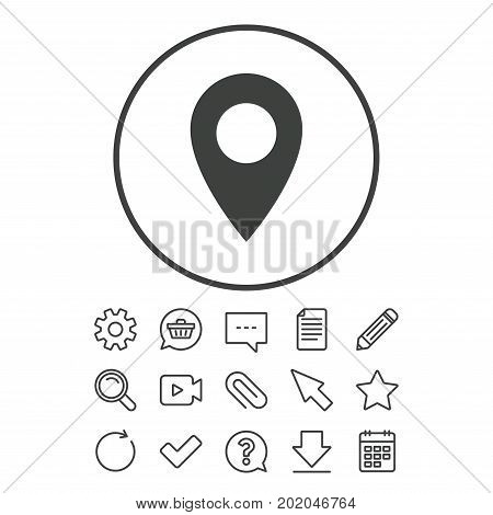 Map pointer icon. GPS location symbol. Document, Chat and Paper clip line signs. Question, Pencil and Calendar line icons. Star, Download and Shopping cart. Vector